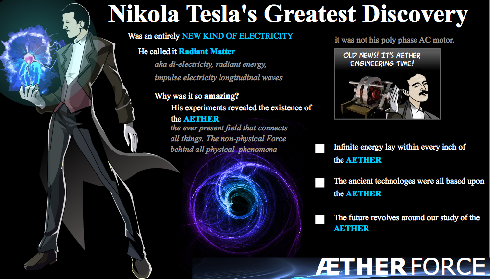 Tesla believed that electricity and the Aether were one and the same.