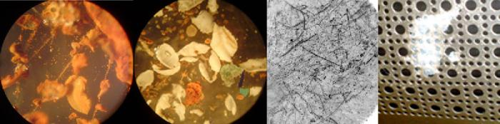 The aluminum plate they used has small trenches burned through it from the cavitation water jets. The new matter they found in the water is spread across the entire periodic table, including a postage stamp sized diamond fiber and glaze cluster.