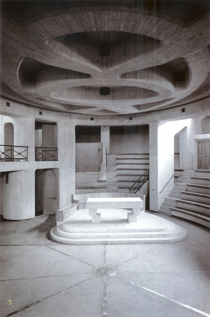 Giovanni Michelucci, Church of the Immaculate Conception, Longarone, Italy, 1966-78 (interior)